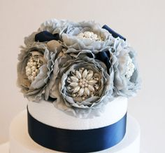 Pastel Gray Wedding Cake Topper, Wedding centerpieces, Wedding Decorations, Pastel Gray and Navy, Paloma Decoration, Wedding Accessory on Etsy, $120.00