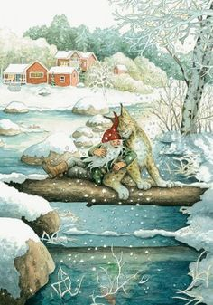 gnomes ' modern Rare new postcard by Inge Look Christmas Gnome, Christmas Art, Fairy Land, Fairy Tales, Art Fantaisiste, Elves And Fairies, Nordic Art, Scandinavian Christmas, Magical Creatures