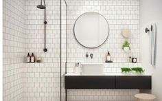 White bathroom ideas with white subway tile bathroom and floating vanity and sink plus shower room and round mirror bathroom for small bathroom decorating ideas Bathroom Inspo, Laundry In Bathroom, Bathroom Inspiration, Bathroom Interior, Bathroom Ideas, Bathroom Designs, Bathroom Remodeling, Bathroom Makeovers, Shower Ideas