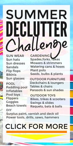 Declutter challenge 2019 - list of 100 products to declutter from your home this summer to get your house and garage organized and make extra cash #declutter #decluttering #declutteryourhome #declutteringahouse #declutteringtips #declutteringideas #clutterfree #clutterfreehome #organization #organized #garageorganization