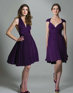 Multiway Knee Length Dress in Purple One dress - lots of options. I love this! Beautiful AND functional.
