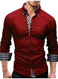 Hombres Manga Larga Contraste Recortar Camisa (Rosa)  23fcc7bf32c
