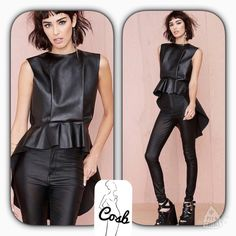 Coming...Faux Leather High/Low Top Black faux high/low leather top. Top stops @ top of waist in the front & is long in the back. Top is sleeveless & zips in the back. Sizes Small-Large. Cosb Tops