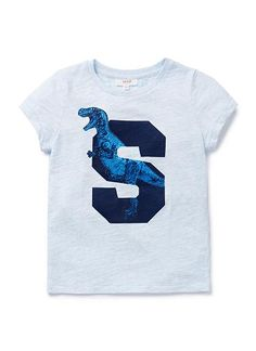 100% Cotton Slub short sleeve tee with front dino & letter placement print.