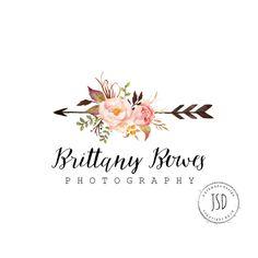 Flower Logo Design- Arrow Logo-Photography Logo-Small Business Logo by JupiterStreetDesigns on Etsy (null)