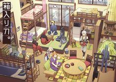 The dollhouse of dreams Diaroma Ideas, Casa Anime, Japon Tokyo, Basara, House Drawing, Environment Concept Art, Ink Illustrations, Anime Scenery, Touken Ranbu