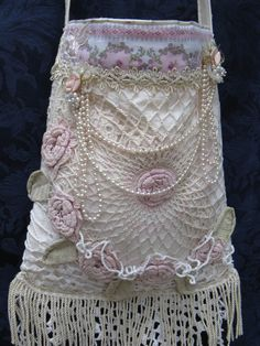 Shabby-Chic Vintage Lace Doilies & Pearls Wedding Purse