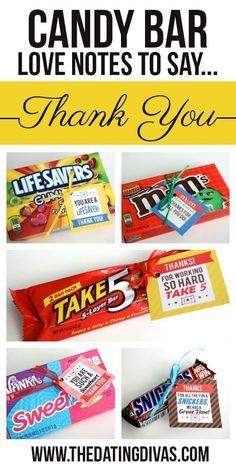 Free printable candy bar gift tags! The perfect easy thank you gift for teachers, coaches, friends, or ANYONE! www.TheDatingDivas.com