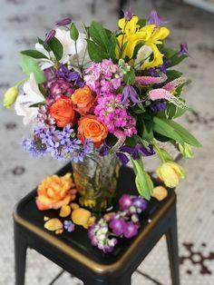 April Bouquet of the Month: Floral Symphony Flower Studio, Mercury Glass, Amazing Flowers, Glass Vase, Floral Wreath, Bouquet, Wreaths, Table Decorations, Spring