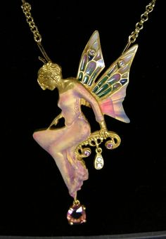 ☆ Fairy Necklace 18k Gold Enameled Rossio & Pfister :¦: By Midnight Orchid ☆