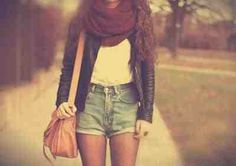 Hipster. Fashion. Scarf. Leather jacket.