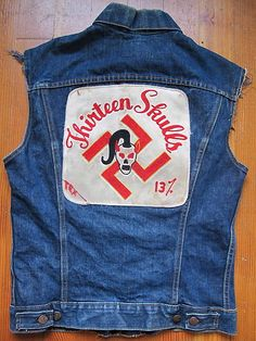 Vintage 1960s Thirteen Skulls Outlaw Biker MC Levis Denim Cut Vest.