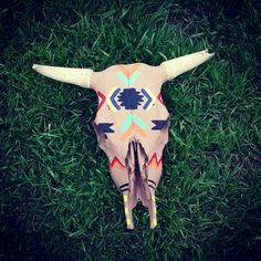 Aztec Hand Painted Cow Skull.