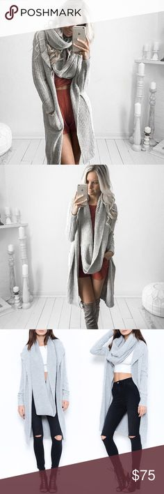 Infinity Scarf Grey Sweater Cardigan Grey sweater cardigan with infinity scarf attached. Super cute 2 in 1 piece! Runs true to size. Available only in GREY. Model is wearing the size small. Brand new. PRICE FIRM. NO TRADES. Bare Anthology Sweaters Cardigans