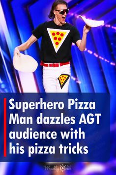 29 years old Nick Diesslin dazzles audience and judges alike with his outstanding juggling skills at NBC America's Got Talent. Nick, aka the Pizzaman, made a memorable entrance with his colorful attire along with a bright cape. Having pizza written all over his getup, this funky guy started juggling with pizza doughs. His performance immediately earned rights to the next stage of the competition. #agt #AmericasGotTalent #nickdiesslin #juggling #pizzaman #acrobat #talent America's Got Talent Videos, Howie Mandel, Simon Cowell, How To Make Pizza, 29 Years Old, Judges, The Voice, Entrance, Cape