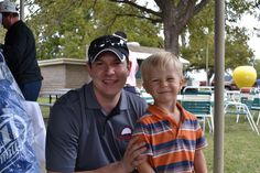 """Outback Steakhouse """"Fore The Kids"""" Golf Tournament, held 10/22/2012.  Pictured is owner, Luke Thomas and Miracle Kid, Bryce Carr"""