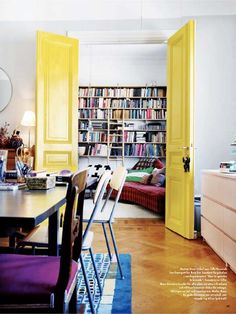Awesome yellow interior doors.
