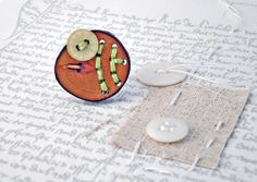 Green Button & Wood Slice Ring The Green Asparagus by P8ButtonArt, €14.00