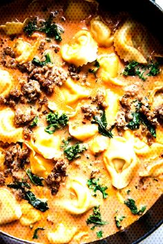 Tortellini Soup with Italian Sausage and KaleYou can find Italian sausage soup and more on our website.Tortellini Soup with Italian Sausage and Kale Italian Sausage Pizza, Tortellini Soup, Kale, Risotto, Ethnic Recipes, Food, Website, Modern, Trendy Tree