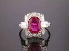 2.65ct No Heat Ruby Art Deco Style Ring