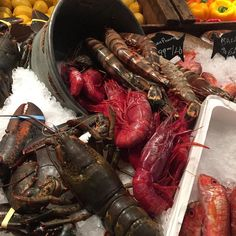 The giant prawns are almost the size of lobster at the seafood display at Milo's in The Cosmopolitan. #vegas by normslasvegas