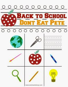 Back To School: Don't Eat Pete Game (Free Printable!) #backtoschool #kids #freeprintable www.randrworkshop.com