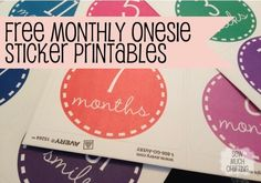 FREE Monthly Onesie Sticker Printables from Sew Much Crafting