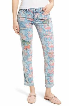 056d4b2e Billy T Embroidered Distressed Flamingo Jeans Torn Jeans, White Jeans, Pink  Bird, Flamingo
