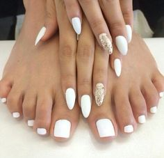 white and gold pointy nails - Google Search