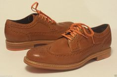 Cole Haan men size 7 brown wing tip #oxford style dress shoes orange shoelaces ColeHaan visit our ebay store at  http://stores.ebay.com/esquirestore