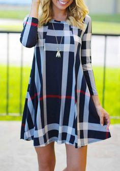 Multicolor Plaid Pleated Draped Round Neck 3/4 Sleeve Cute Mini Dress