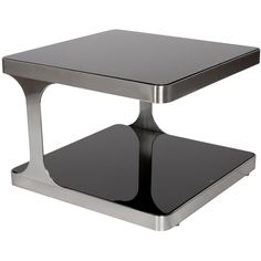 Allan Copley Designs Diego Square End Table With Black Glass Top & Shelf and Brushed Stainless Steel Frame Ultra Modern Homes, Sofa End Tables, Occasional Tables, Side Tables, Basement Furniture, Coffee Table Design, Modern Coffee Tables, Brushed Stainless Steel, Modern House Design