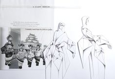 Fashion Sketchbook - geisha inspired fashion design; origami fashion; fashion drawings & visual research; fashion folio // Jegor Pister