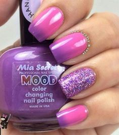 Nail Art (used with Mood color changing polish) - Faded Pink & Purple Nails with 1 Nail Sparkled. Mood Changing Nail Polish, Mood Nail Polish, Color Change Nail Polish, Nail Polish Colors, Nail Nail, Purple Nail Beds, How To Do Nails, Fun Nails, Violet Pastel
