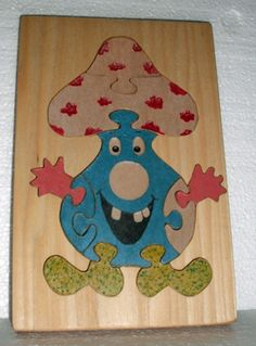 Wooden Montessori Comical Mushroom Puzzle with by PawPawsWorkshop