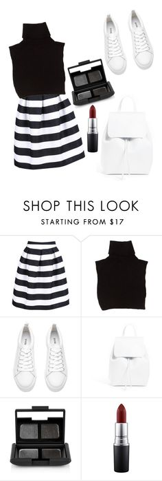 """""""Monochrome Stripes"""" by widyaastavida ❤ liked on Polyvore featuring Marc Jacobs, Mansur Gavriel, NARS Cosmetics, MAC Cosmetics, monochrome, stripes, maroon, sneakers and turtleneck"""
