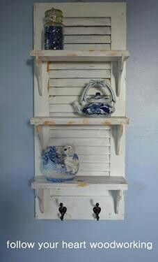 Recycled shutter shelf