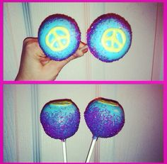 Peace sign cake pops