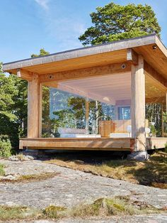 "A chapel on the island of Kemiö: ""Here we have everything we have always dreamed of"" Design stories Tiny House Cabin, Tiny House Design, My House, Tiny Cabins, Cabins In The Woods, House In The Woods, Futuristic Architecture, Architecture Design, Casas Containers"