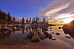 Sand harbor with snow