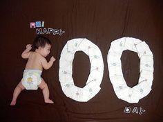 おむつアートよくがんばってた◡̈⃝ #おむつアート #オムツアート #100日 #100日記念 #100日アート #お食い初め #3ヶ月baby