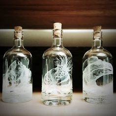 Scientifica Illustrations Collection. Spirit decanters for your home bar. A great gift for Father's Day.
