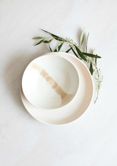 Image of White with Pastel Porcelain Bowl