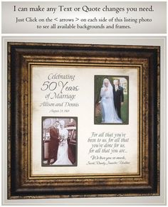 Anniversary Gift for Parents Golden Anniversary, Handmade Anniversary Gifts from PhotoFrameOriginals Custom Photo Mats Anniversary Gift 50 Anniversary Gifts Parents Anniversary Handmade Anniversary Gifts, 50 Wedding Anniversary Gifts, Anniversary Pictures, Anniversary Gifts For Parents, 50th Anniversary, Handmade Gifts, Anniversary Frames, Then And Now Pictures, Anniversary Party Decorations