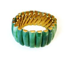 Hong Kong Bracelet Lucite Early Plastic Green by zephyrvintage
