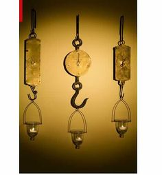 Meats restaurant, using butcher hooks with weight scales as decor