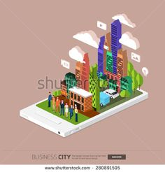 Flat design concept the city and business people on the Mobile. Vector Illustrate.