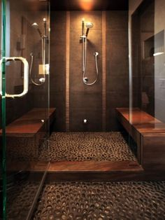 Walk-In, river rock floor shower - walk in shower ideas are very functional Small Bathroom With Shower, Brown Bathroom, Bathroom Spa, Bathroom Ideas, Shower Ideas, Stone Bathroom, Bathroom Designs, Bathroom Showers, Master Bathroom