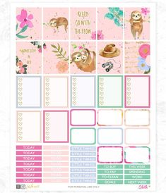 Sloth Planner Stickers Printable weekly kit Animal stickers