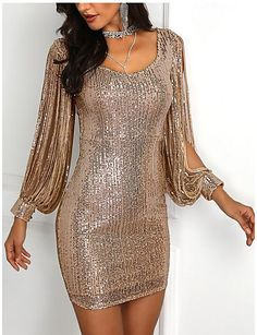 Tassels Detail Slit Sleeve Sequin Party Dress fashion dresses pictures summer outfits style dress for girl,work dresses outfit ideas,party dresses Club Dresses, Sexy Dresses, Evening Dresses, Fashion Dresses, Dresses For Work, Party Dresses, Women's Fashion, Bride Dresses, Mini Dresses